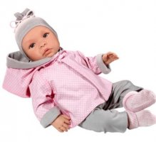 Asi dolls - Leonora doll in grey and rose clothing, 46 cm